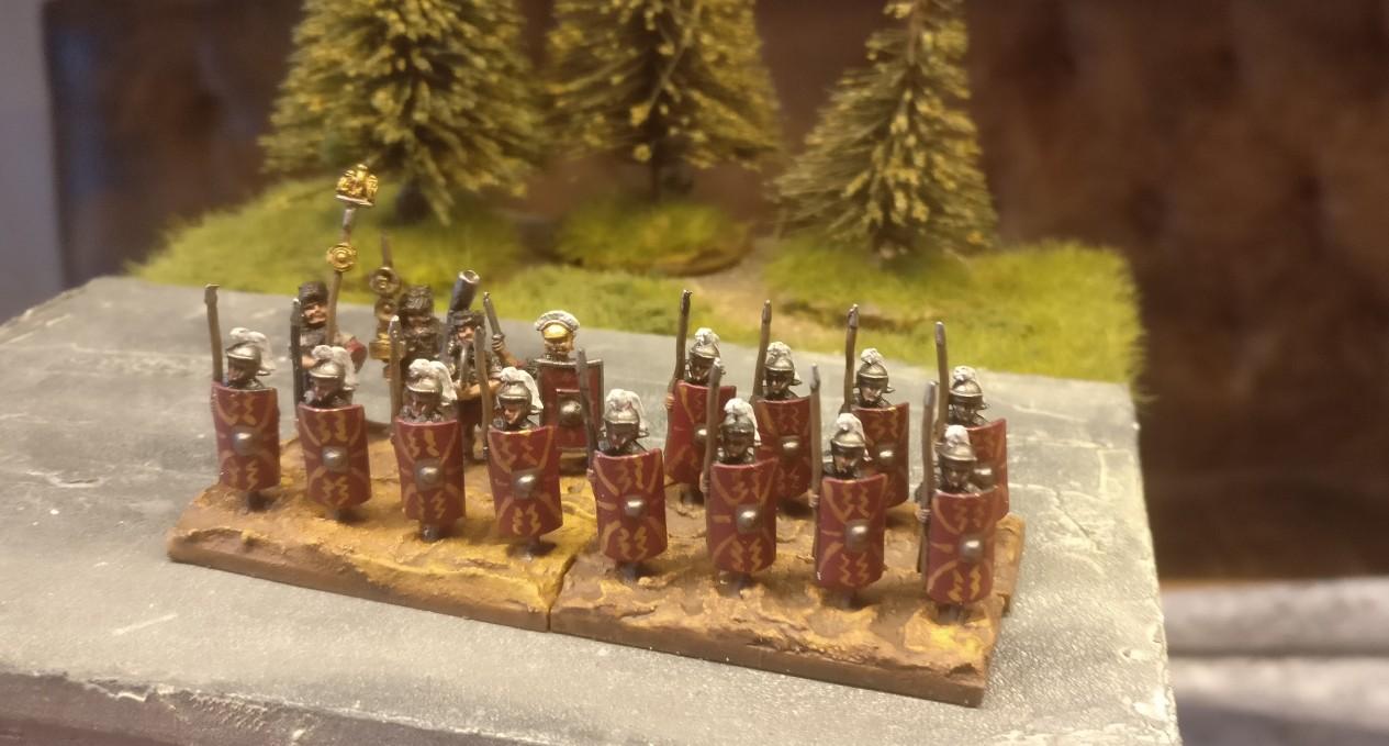 """Die 15mmm x 20mm MDF-Bases für die Blade Superior / Bd (S) Prätorianer (DBMM) wurden mit """"Lederbraun"""" lasiert."""