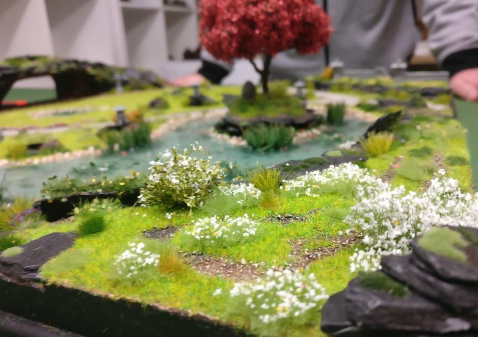 """Eckdetail der Bushido-Spielplatte """"japanischer Garten"""" der Ad Arma."""