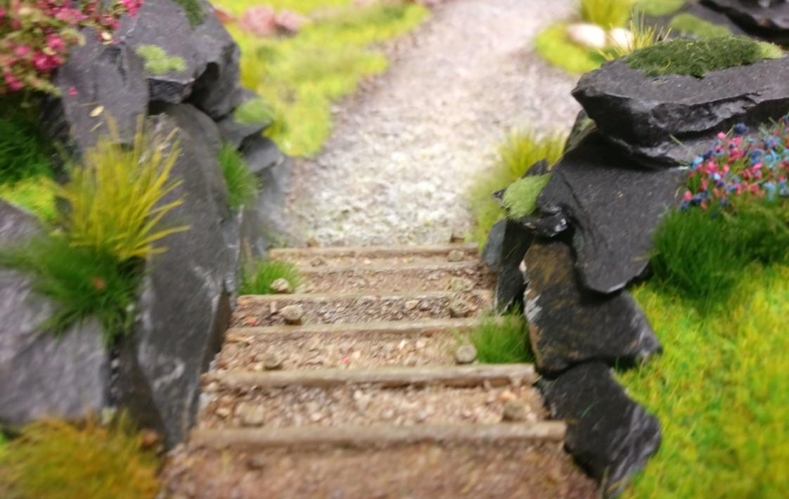 """Treppe auf der Bushido-Spielplatte """"japanischer Garten"""" der Ad Arma."""
