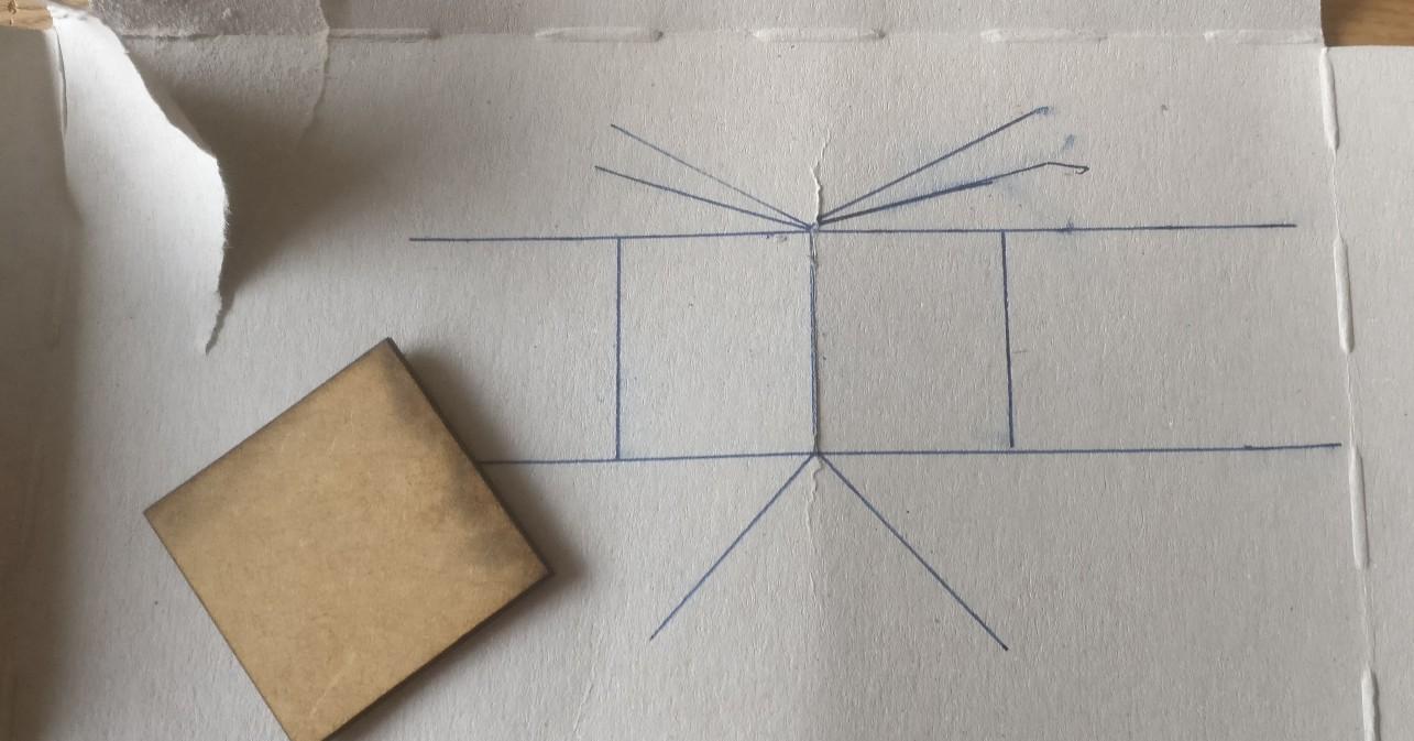 Die Skizze für das erste Zelt für ein DBMM-Lager.