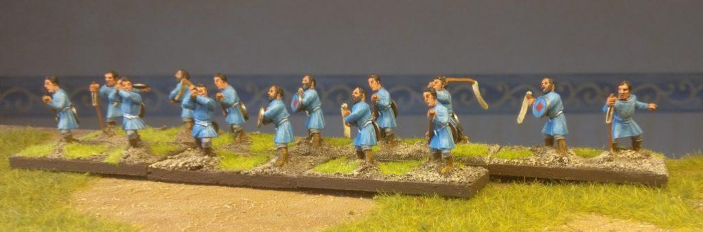 Hier sind sie, die Psiloi und Stabschleuderer meiner 28mm Byzantiner Armee. Noch gebased für DBA/DBMM/ARMATI.