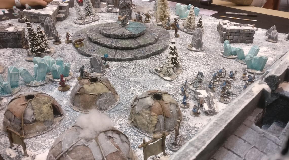 Ein letzter Blick auf die Eislandschaft auf dem Frostgrave Spieltisch auf dem Ad Arma Con 2019