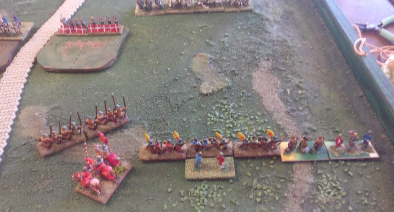 Auf dem rechten Flügel marschieren die Schweden gegen die Linien des Deutschen Ordens.