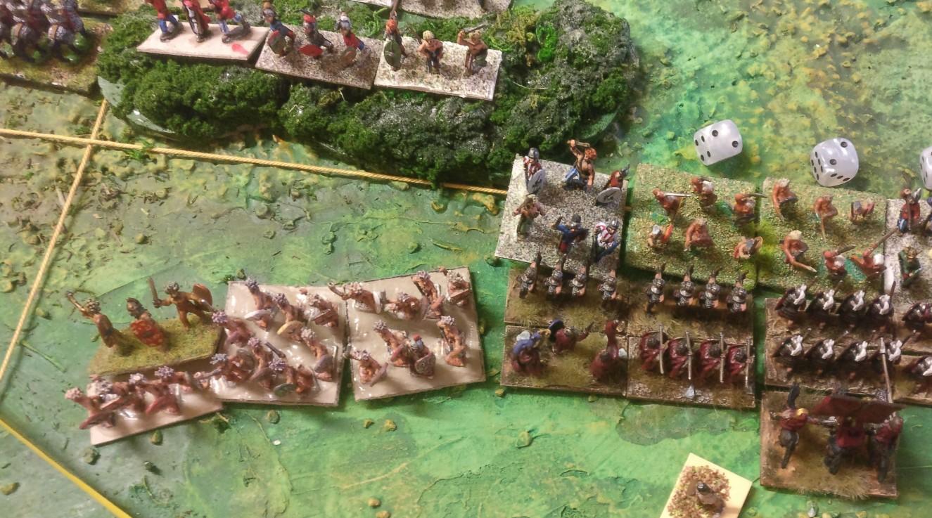 Auch weiter links geht es zwar voran, aber ein Sieg wird es nicht mehr werden, denn die Römer haben bereits zuviele Truppen verloren.
