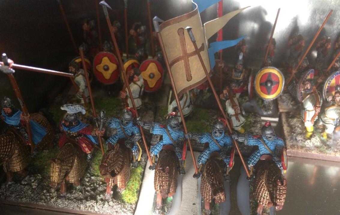 Die Figuren der 28mm-DBA-Armee Byzantiner von XENA, die vielleicht schon bald meine SAGA-Armee bilden werden.
