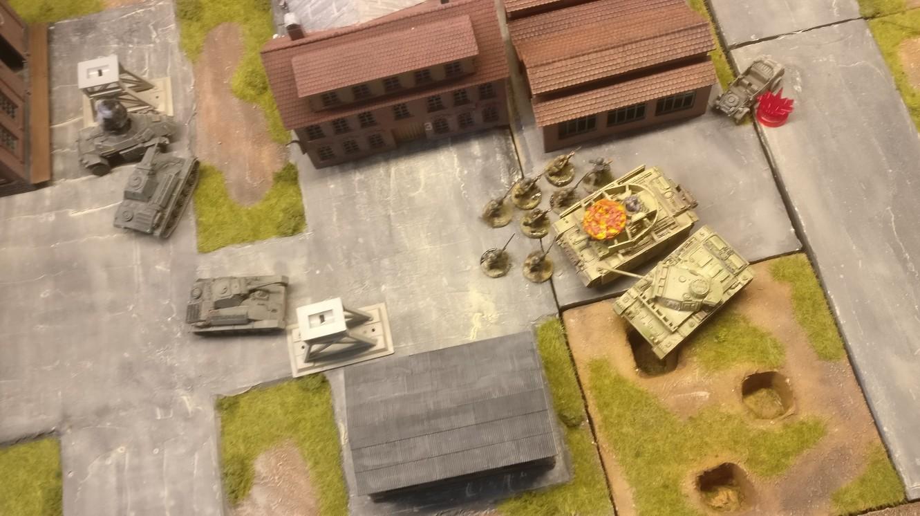 Die Rotarmisten haben den Kübelwagen der Artilleriebeobachter gepinnt. Bei Battlegroup ist das fast gleichbedeutend mit dauerhaftem Ausschalten.