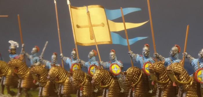 SAGA, die Byzantiner und XENA. Von den Skutatoi. Auf dem Foto: Clibanophoroi, Kataphrakten der zweiten Hälfte des zehnten Jahrhunderts nach Christus.
