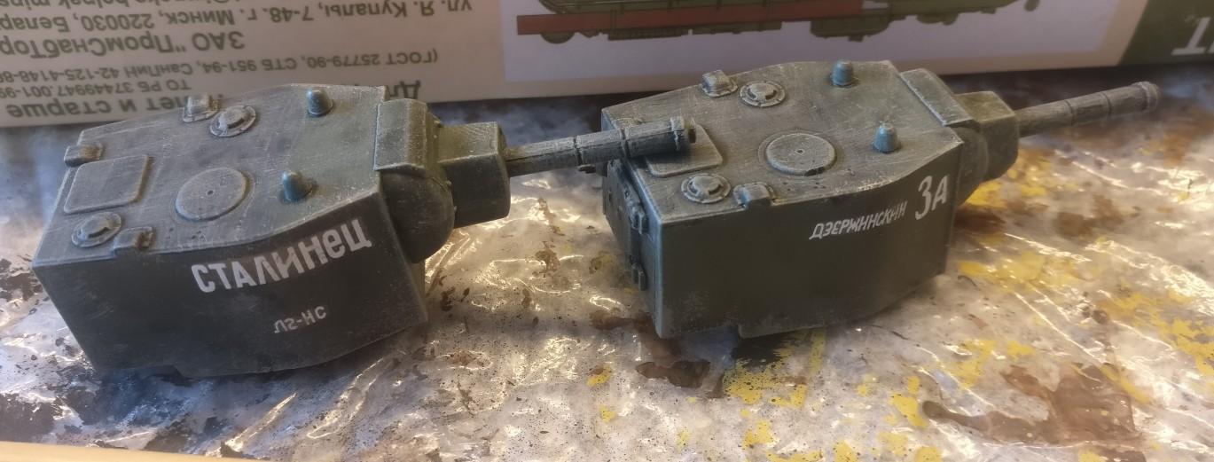 "Auch die Türme der KV-Panzer aus dem Set Pegasus 7665 ""KV-1 Early & KV-2"" bekamen ein Trockenbürsten ab."