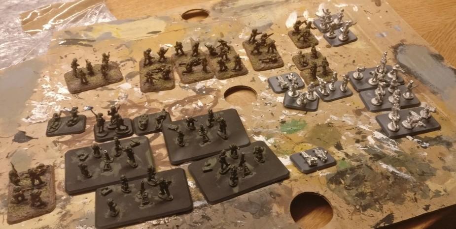 Diese Partie britische 15mm Infanterie habe ich als erstes Los für die Bekleidung vorgesehen.