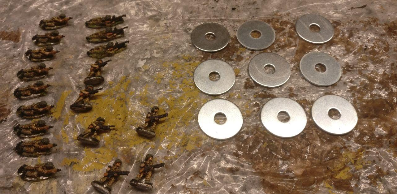 Die 30mm Unterlegscheiben für die Baserung liegen bereit.