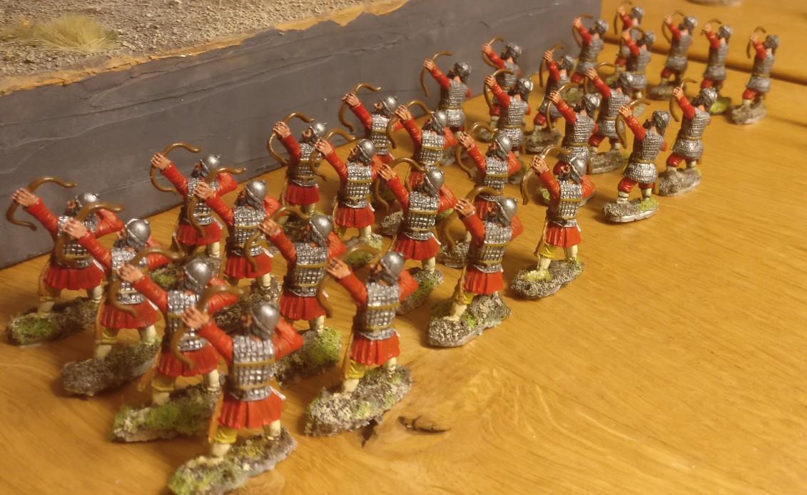 Die Byzantiner Bogenschützen, nachdem ich sie von den rechteckigen Basen von XENA gelöst hatte.