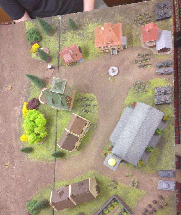 Dominics Aufmarschzone: leichtes Gerät in Feldgrau und etwas Infanterie. Die Panzer IV sind schon etwas wuchtiger als des Sturmis T-26...