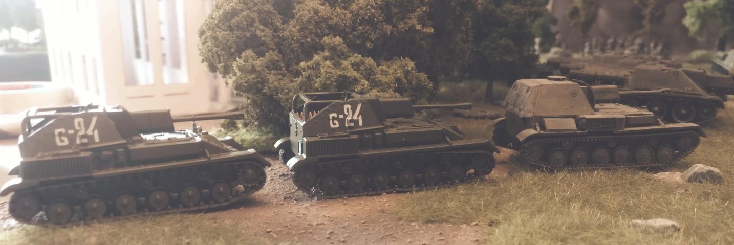 Die SU-76 der 5. Batterie des 1437. Selbstfahrartillerie-Regiment