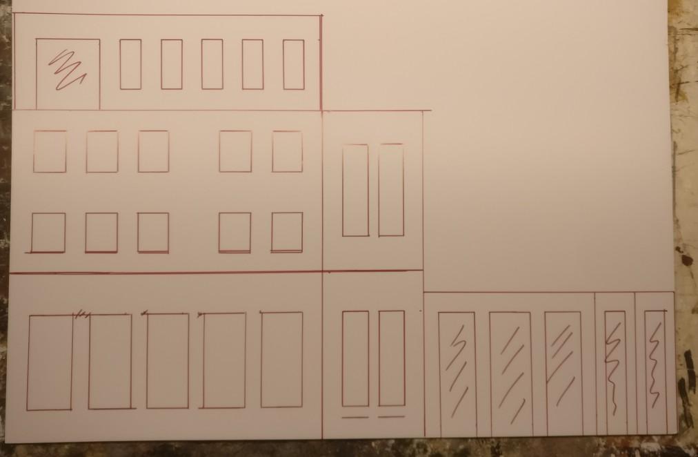 Die Wände des Verwaltungsgebäudes...