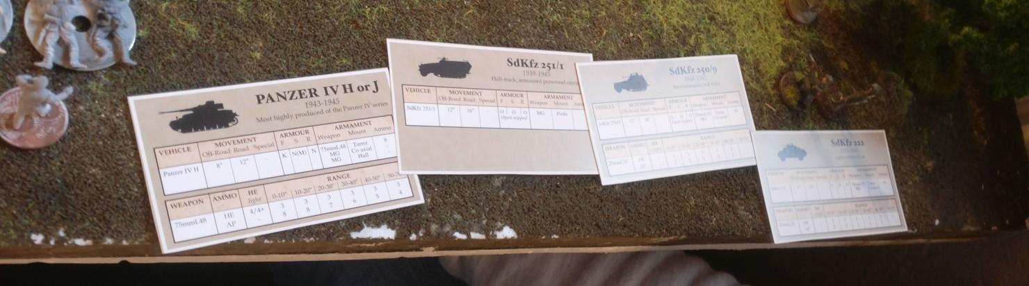 Die Battlegroup-Fahrzeugkarten für die deutschen Fahrzeuge im Market Garden Szenario.