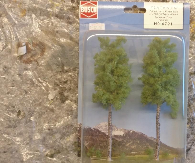 """Die beiden Busch 6791 Platanen 165mm sind die kleineren vertreter. Angenehm: die Baumstämme sind """"ulmig"""" vorcoloriert. Kann man lassen, muss nicht bepinselt werden."""