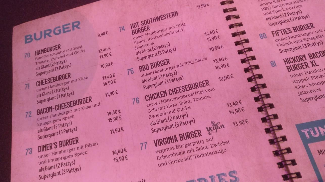 Die Speisekarte: Burger, Burger und Burger. Da fällt die Wahl leicht.