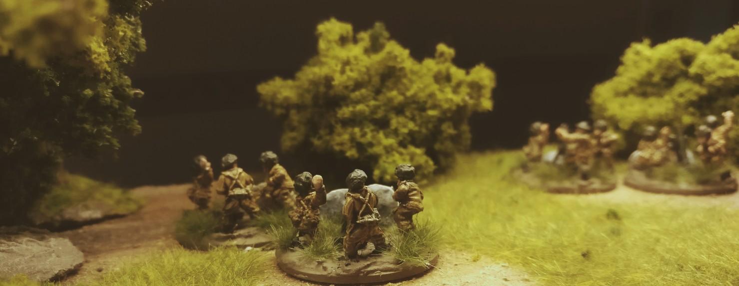 Das Support Platoon meiner PBI British Rifle Company mit ihren Ordnance ML 3 Inch Mortars.