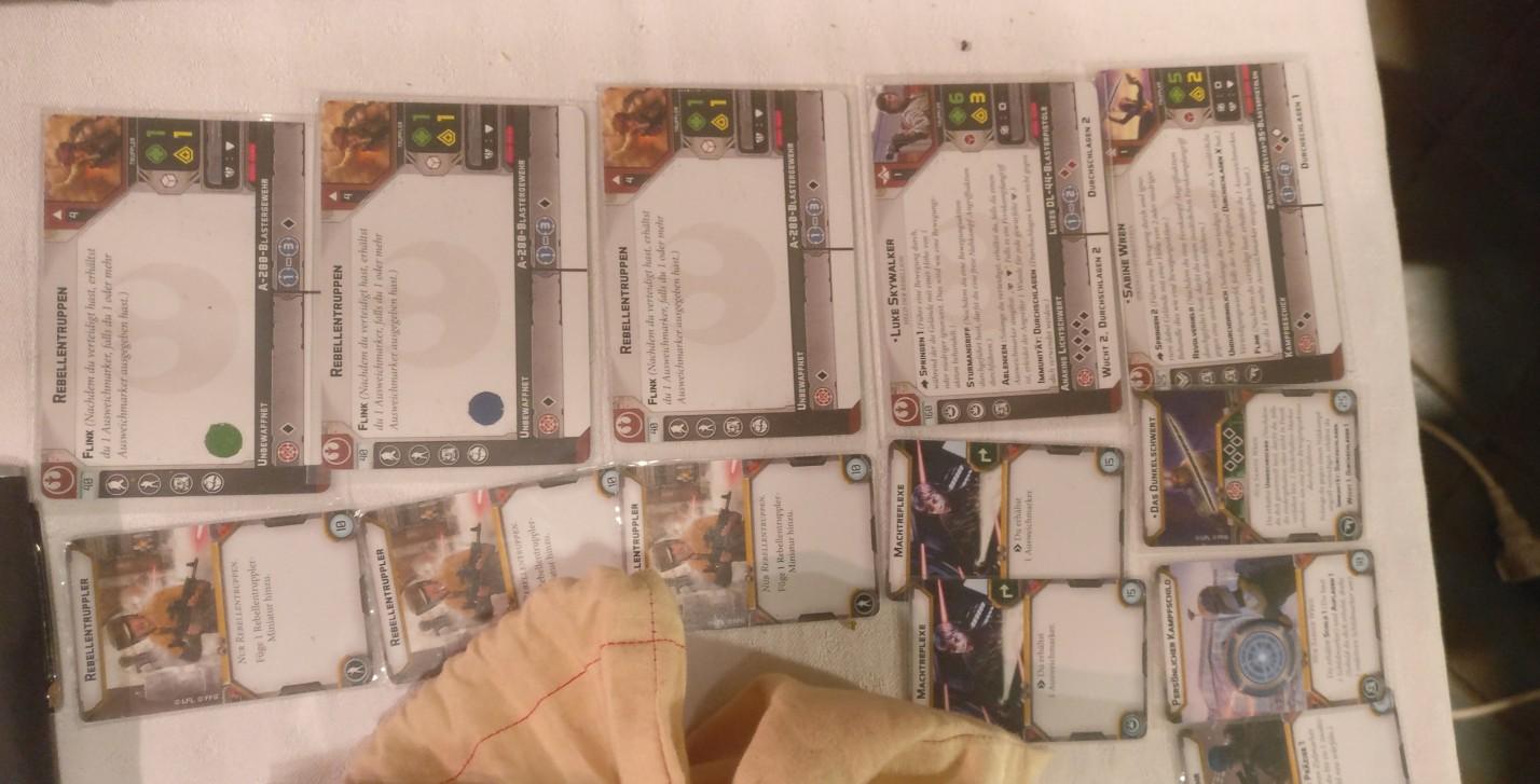 Die Star Wars Legion Charakterkarten und Ausrüstungskarten vom Henry