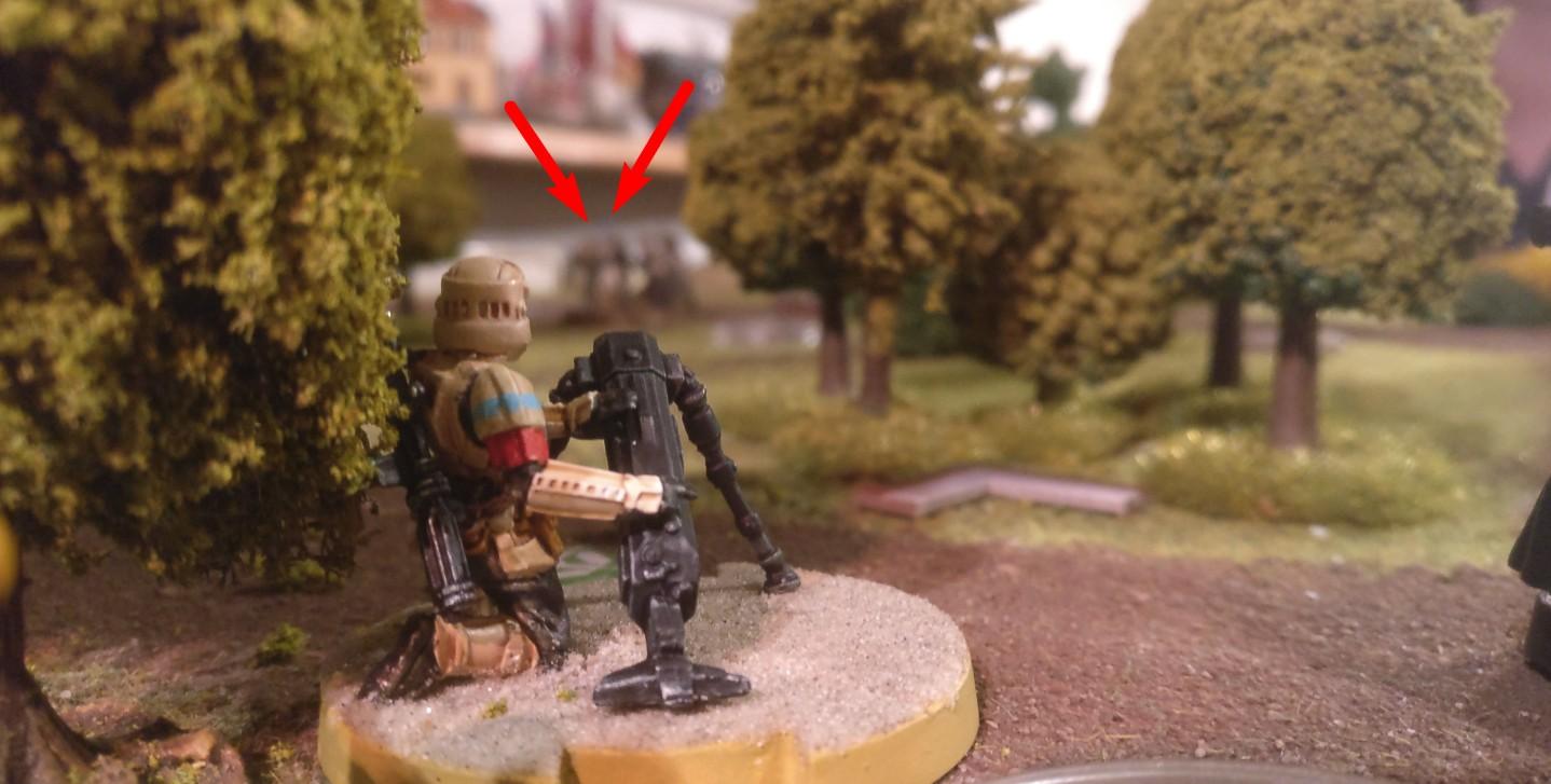 Da hinten kauern sich Rebellen zusammen. Der DF-98-Mörsertrupp nimmt die Herren Rebellen unter Feuer...