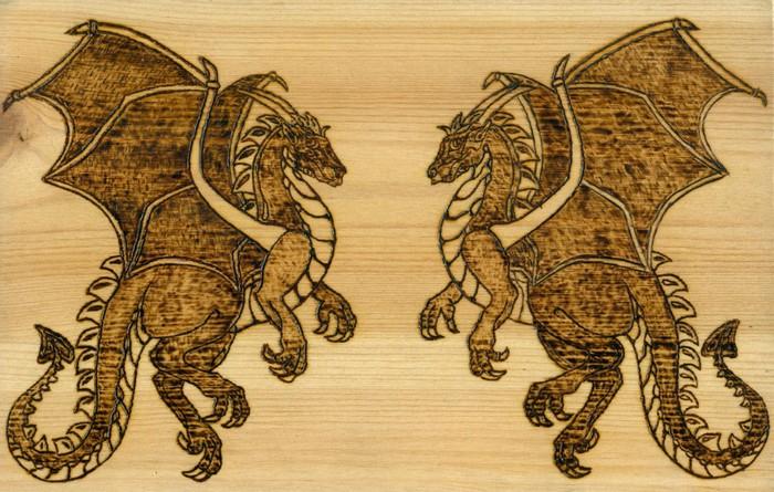 Zwei Drachen auf der Farbenkiste des Honischer.