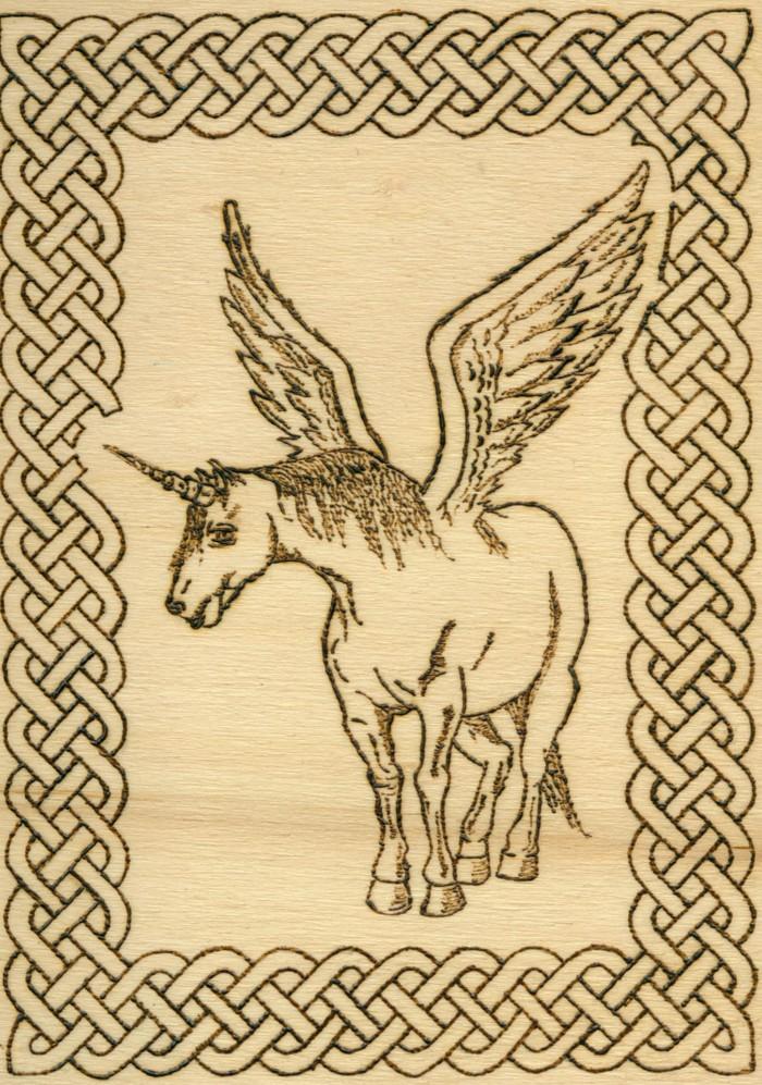 Einhorn, oder genauer der gefiederte Pegasus, vielleicht eines der wichtigsten Werke des Künstlers aus dem Honischer Land