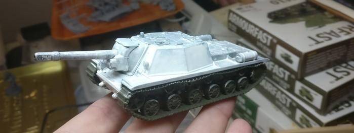 Der gekalkte Aufbau des SU-152 meines OTSAP.
