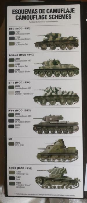 """Eine Variation von Tarnanstrich an Vallejo Color. Auf der Packung des Set """"Vallejo 71.188: Acht Soviet WWII Camo Colours for Soviet Vehicles 1939-1945"""" und im Faltblatt im Innern sind mehrere Tarnanstriche bebildert."""