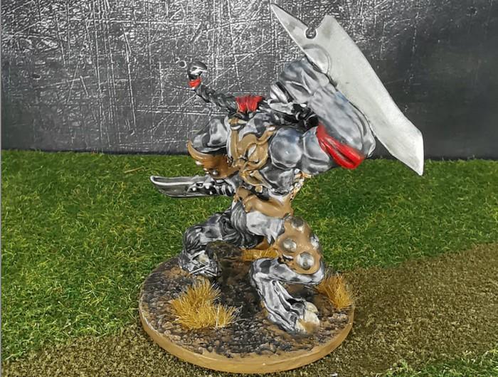 Einer der beiden ersten Wolf Fighter aus dem Wolfen & Skorpione: Confrontation Starter Set von Rackham nach Fertigstellung.