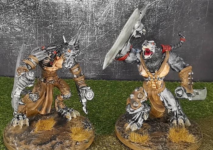 Nochmal beide Wolf Fighter aus dem Wolfen & Skorpione: Confrontation Starter Set von Rackham von - ebenfalls von vorne.