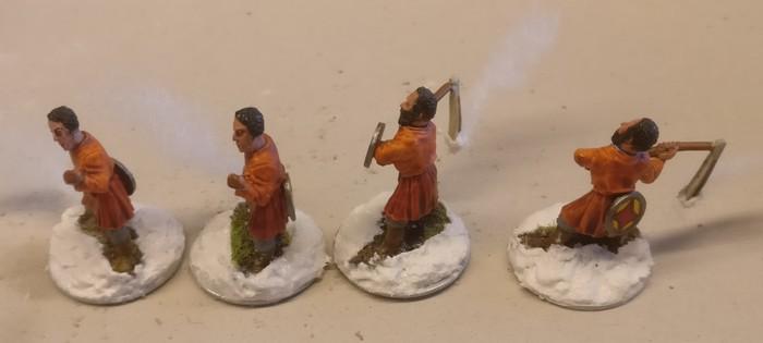 Die vier SAGA-Feuerwerfer beim Trocknen...