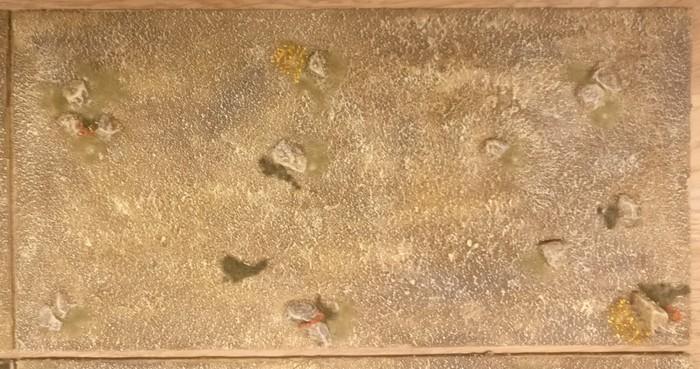 Großaufnahme: Modul 1 (30cm x 15cm) meines Terrain Tile System mit dem Motiv des Sarissa Expansion Pack 1 Beispielfotos.