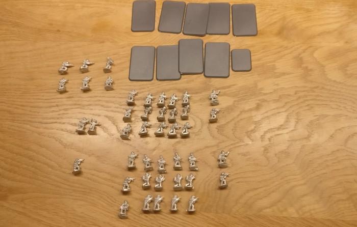 Ein erstes Sichten der Figuren ergab einknappes Platoon, welches da zur Verfügung stehen würde. Grob zehn Foot Groups sind nicht die Welt.