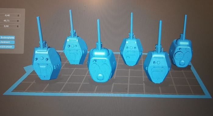 Für meine 46 Panzer vom Typ T-34/76 konnte ich fünf Turmtypen in der gewünschten Form auswählen. Alle nötigen 3D-STL-Dateien waren als Download verfügbar. Runde oder eckige Zusatztanks? Das Schlaraffenland ist ein Dreck gegen das hier.