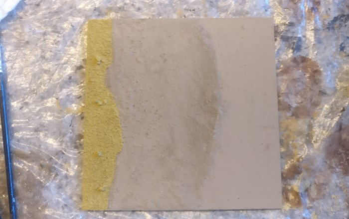 So schaut das Terrain Tile aktuell aus. Alle Farbe ist getrocknet.