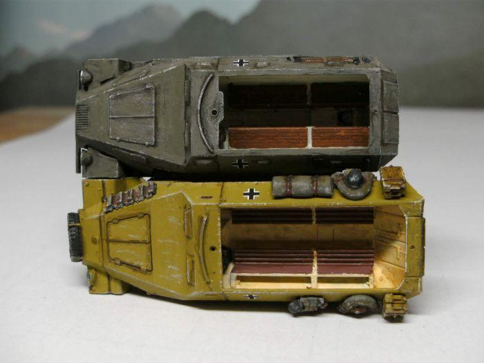 Größenvergleich: das etwas zu klein geratene Zvezda Sd.Kfz. 251/1 und das längere Sd.Kfz. 251/1 von PSC.