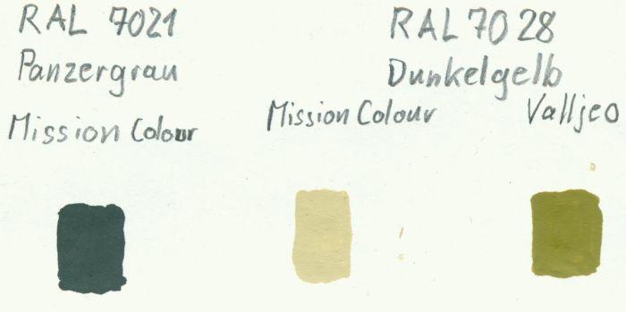Farbvergleich: RAL 7021 Panzergrau und Deutsches Dunkelgelb RAL 7028.