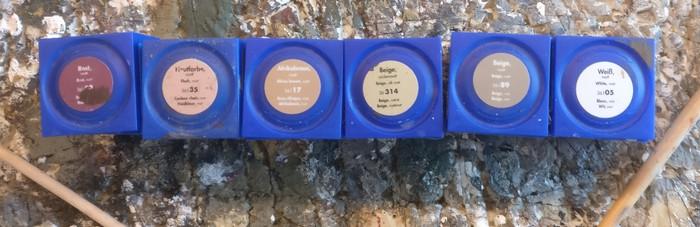 Von Revell Aquacolor nahm ich: Rost, Hausfarbe, Afrikabraun, 314er Beige (gelblich) , 89er Beige (weiß/grünlich), Weiß