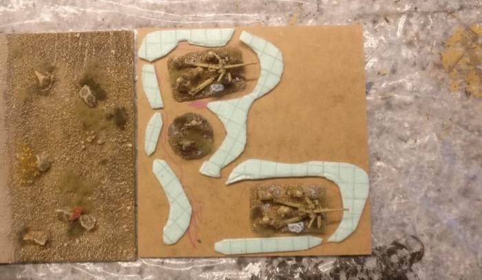 Für beide Sangar werden Stücke der Trittschalldämmung geschnibbelt.