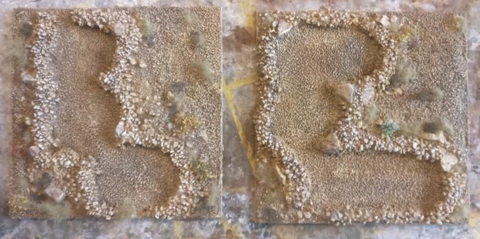 """Die beiden Terrain Tiles """"Sangar"""" nach dem Bepflanzen mit hellem und dunklem braunen Gras von MiniNatur."""
