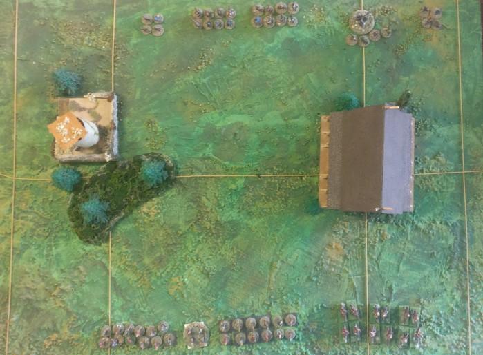 Das SAGA-Spielfeld. Oben haben sich die Wikinger eingefunden, am unteren Rand liegen die Litauer Fürsten des Ostens auf Lauer.