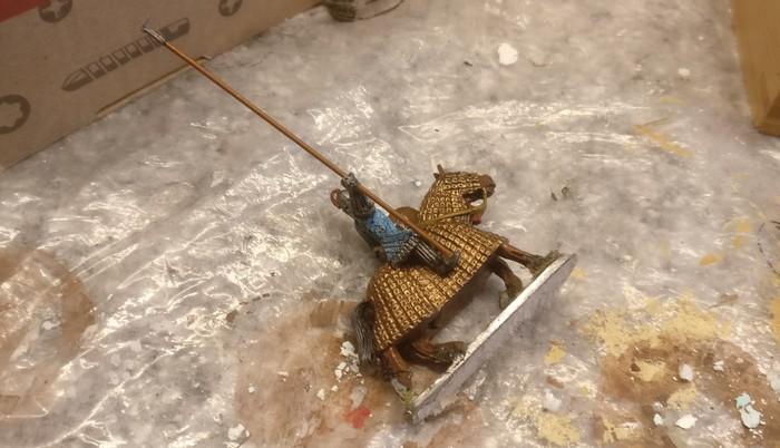 Hier ein einzelner Reiter der Byzantiner. Ein großer Teil der Reiter sind gepanzerte Reiter. Leider geben das die SAGA-Regeln nicht her.