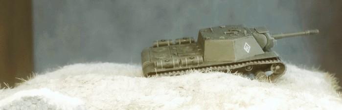 Das SU-152 im tiefen Schnee in Shturmigrad.