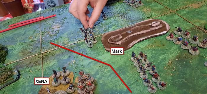 Mark greift mit seinen Bauern der Angelsachsen an.