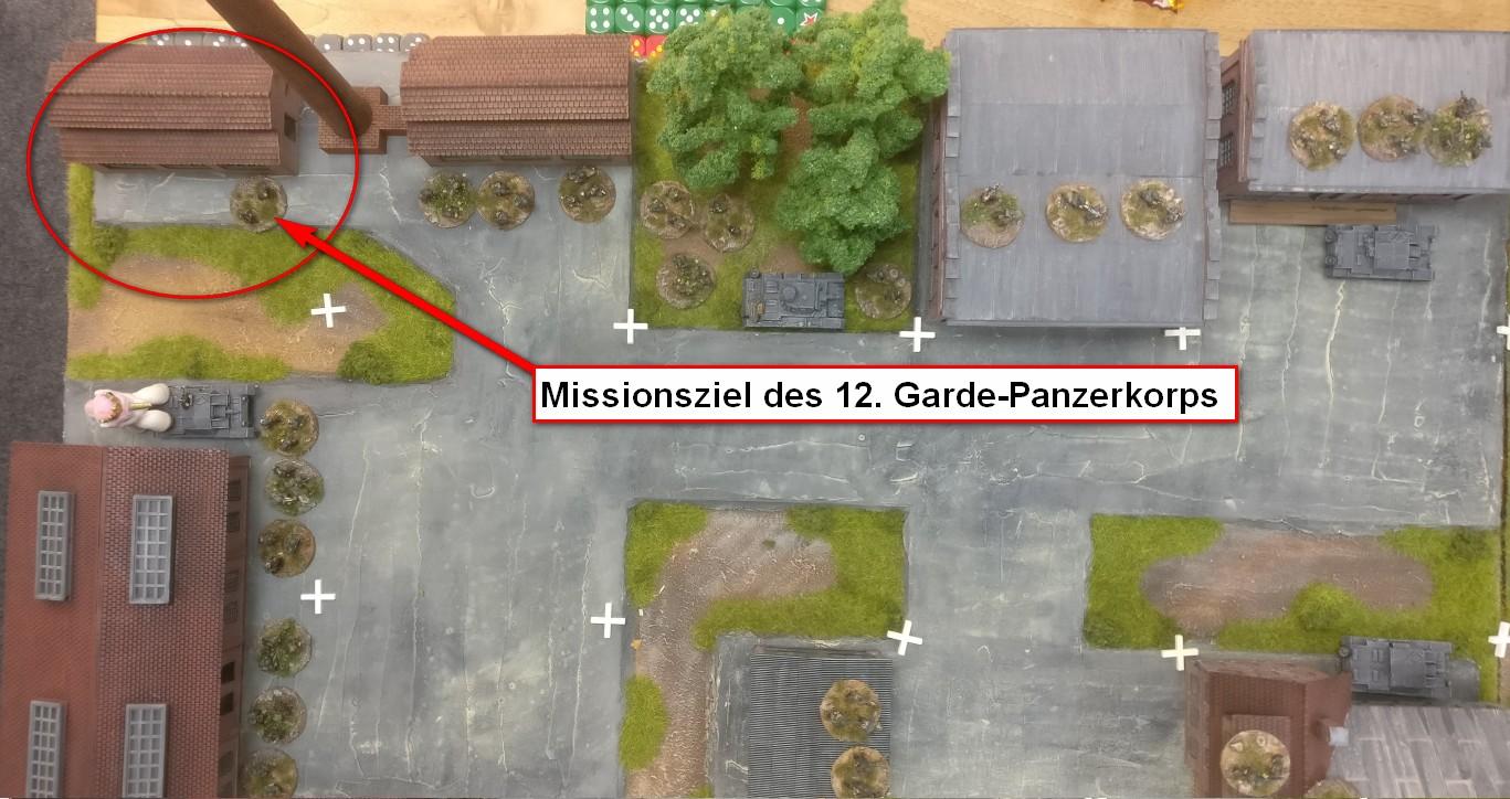 Das Missionsziel des 12. Garde-Panzerkorps ist die Einnahme des deutschen Gefechtsstands in Berlin-Siemensstadt am Ende des Spielfeldes.