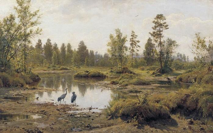 Typische Sumpflandschaft in einem Gemälde von Ivan Shishkin im Jahr 1890. Seit dem hatte sich dort nicht wirklich viel verändert, darf man annehmen.Typische Sumpflandschaft in einem Gemälde von Ivan Shishkin im Jahr 1890. Seit dem hatte sich dort nicht wirklich viel verändert, darf man annehmen.