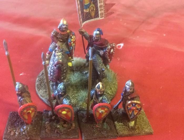 Die Byzantiner Armee von XENA. Eine Truppe Skutatoi mit ihrem Kriegsherrn.