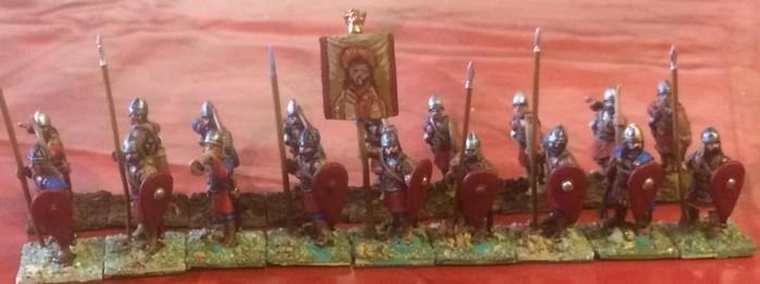 Frontrang und zweiter Rang der Byzantiner Infanterie.