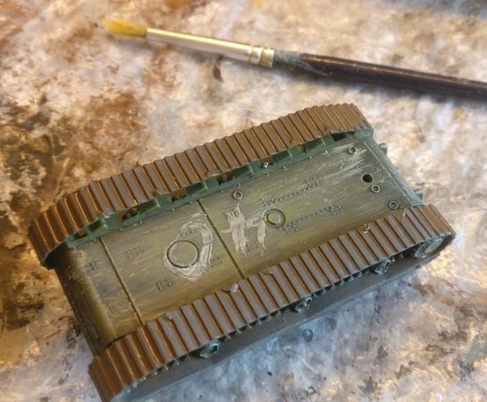 Der KV-I nach dem Behandeln der Panzerketten.