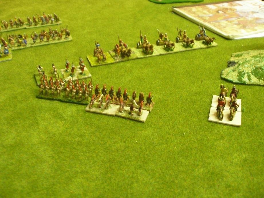 Die karthagische rechte Flanke. Punische Veteranen und italienische Bundgenossen erwarten den Angriff der keltischen Streitwagen...